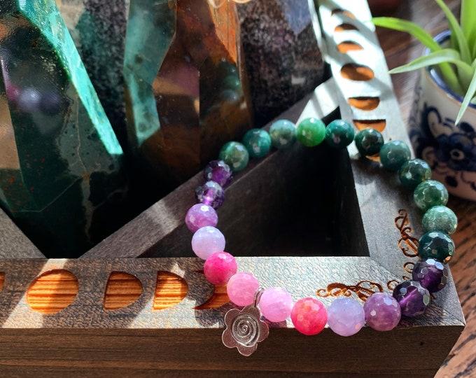 Flower Power Bracelet | Moss Agate, Amethyst, Lepidolite, Ruby + Flower Charm | 8 mm | Spiritual Junkies | Yoga + Meditation | Mala Beads