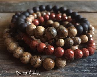 Pachamama   Ebony Blackwood, Picture Jasper + Red River Jasper   6 + 8 mm   Yoga + Meditation   Stack of 5 Mala Bracelets