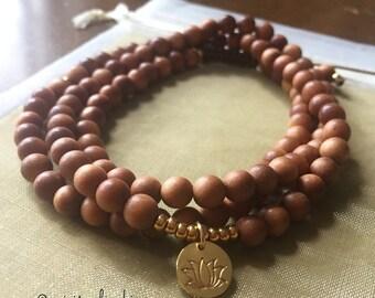 Sandalwood + Thai Gold Vermeil Lotus   108 Bead Mala   Mini 6 mm   Spiritual Junkies   Yoga + Meditation