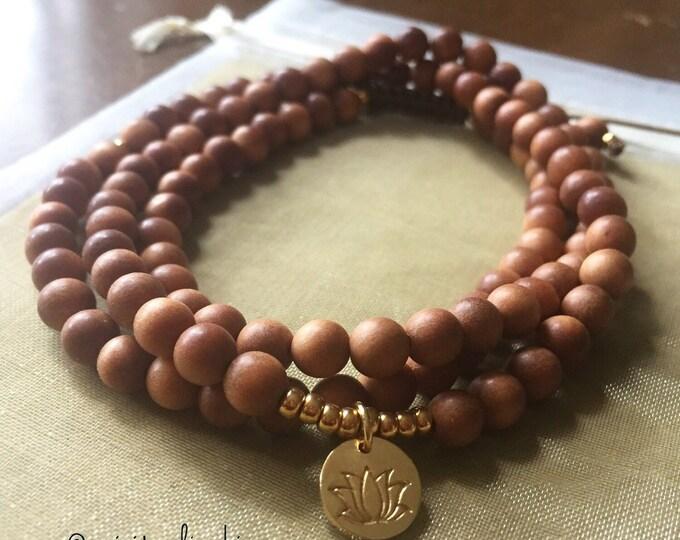 Sandalwood + Thai Gold Vermeil Lotus | 108 Bead Mala | Mini 6 mm | Spiritual Junkies | Yoga + Meditation