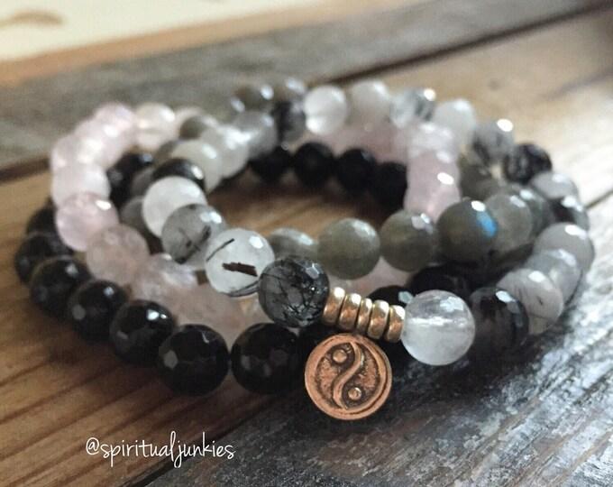 Peace, Love + Harmony Stack of 4 Rose Quartz, Labradorite, Onyx, Quartz + Hill Tribe Sterling Yin Yang Spiritual Junkies Yoga Bracelet