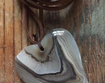Vegan Leather + Heart Sliced Agate | Adjustable Choker Necklace | Reiki Love Infused | Spiritual Junkies | Yoga + Meditation