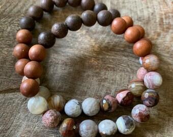 Agarwood, Sandalwood + Crazy Lace Agate   Spiritual Junkies   Yoga + Meditation   Stackable Mala Bracelet