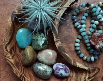 Hand Carved Marbled Mango Wood Moon Bowl, Grab Bag of 4 Gemstones + Tilandsia Tectorum Air Plant | Reiki Infused | Spiritual Junkies | Altar