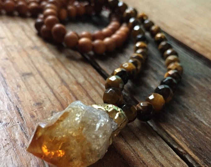 108 Bead Sandalwood, Tigers Eye + Raw Citrine Spiritual Junkies Yoga and Meditation Mini Mala