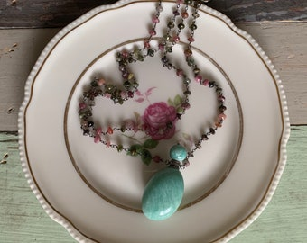Oxidized Rosary Chain, Tourmaline + Amazonite Essential Oil Bottle Necklace | 18 inch | Sterling Silver Toggle | Spiritual Junkies | Yoga