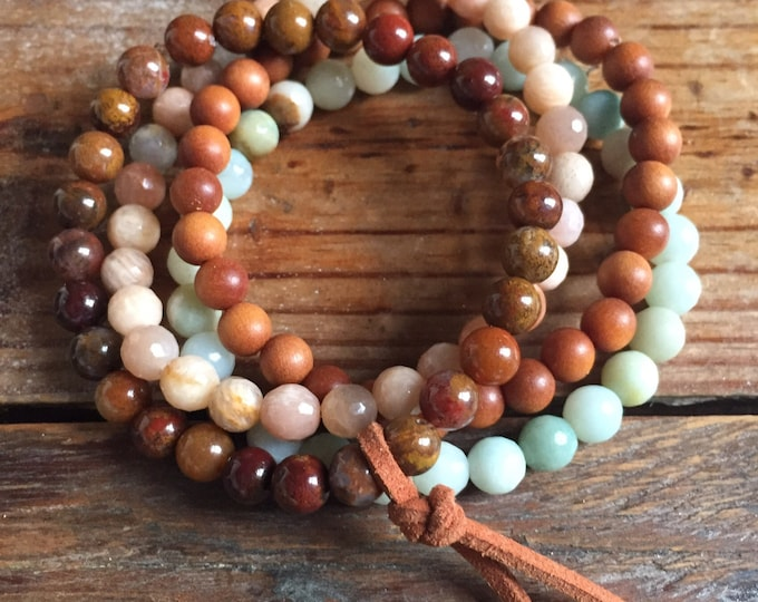 Mini Sandalwood + Gemstone Stackers | Fossil Agate, Sunstone, Amazonite + Vegan Leather | 6 mm | Spiritual Junkies | Yoga | 4 Mala Bracelets