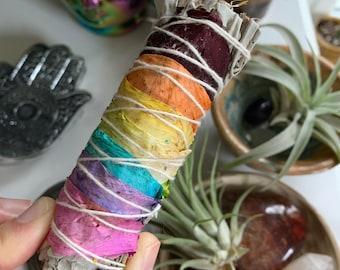 Rainbow Sage | Dried Flower Petals | Smudge | Reiki Love Infused | Spiritual Junkies | Altar | Sacred Spaces