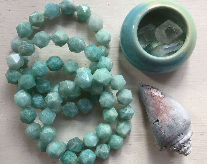 Mermaid | Amazonite Star Cut Nuggets | Chunky 10 mm | Spiritual Junkies | Yoga + Meditation | Stackable Mala Bracelet