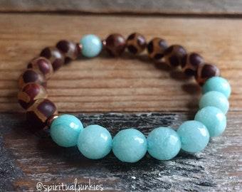 Dzi Agate + Amazonite   Spiritual Junkies   Yoga + Meditation   Stackable Mala Bracelet