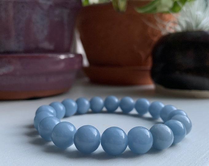 Chunky Angelite Bracelet | 10 mm Round | Spiritual Junkies | Yoga + Meditation | Stackable Mala Beads