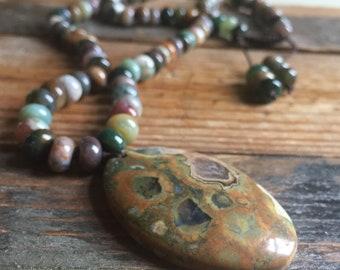 Indian Agate Rondelles + Jasper Mala | 108 Bead | Handknotted | Spiritual Junkies | Yoga + Meditation
