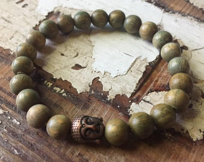 Green Sandalwood + Copper Buddha | Spiritual Junkies | Yoga + Meditation | Stackable Mala Bracelet