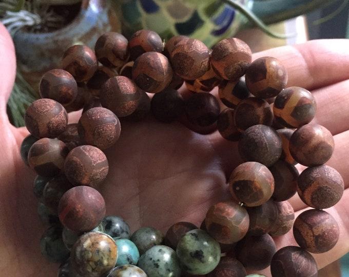 Matte Tibetan Agate + African Turquoise | Dzi Agate | Chunky 10 mm | Spiritual Junkies | Yoga + Meditation | Stackable Mala Bracelet
