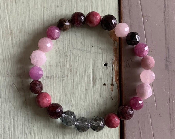 Radical Self Love Bracelet | Ruby, Garnet, Rhodonite, Rose Quartz, Kunzite, Tourmaline + Silver Quartz | Spiritual Junkies | Yoga