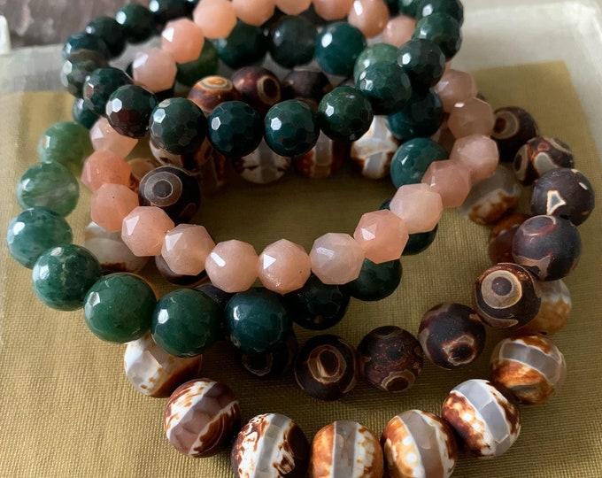Inner Peace Bracelet Stack of 5 | Dzi Agate, Moss Agate, Bloodstone Jasper + Sunstone | Spiritual Junkies | Yoga + Meditation