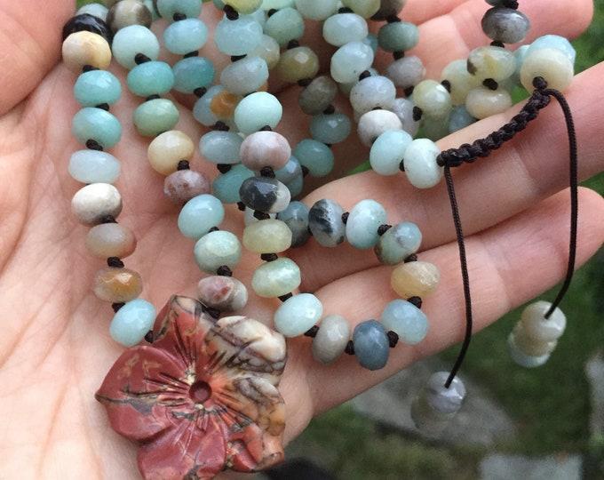 Amazonite Rondelles + Jasper Hibiscus Mala | 108 Bead | Handknotted | Spiritual Junkies | Yoga + Meditation