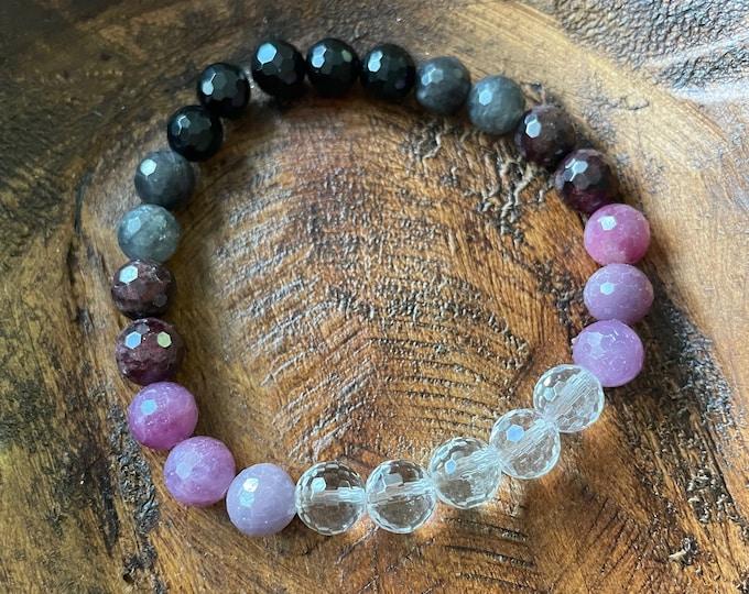 New Opportunities Bracelet | Tourmaline,Labradorite, Garnet, Ruby, + Quartz | 8 mm | Spiritual Junkies | Mala Beads