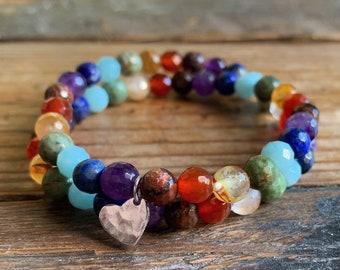 Rainbow + Silver Heart Single or Double Wrap Mala Bracelet   Mini Pride Stacker   Gemstones   6 mm   Spiritual Junkies   Yoga   LGBT   Ally