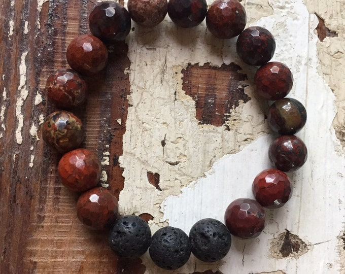 Lava Bead + Red Jasper | Spiritual Junkies | Chunky 10 mm | Essential Oil Diffuser Jewelry | Yoga + Meditation | Stackable Mala Bracelet