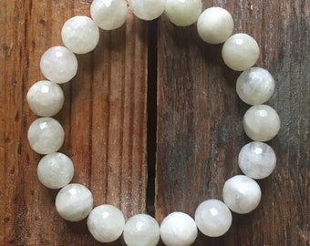Chunky Moonchild   Faceted Moonstone   10 mm   Spiritual Junkies   Yoga + Meditation   Stackable Mala Bracelet