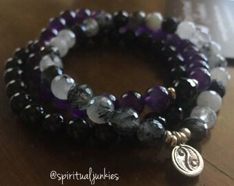 Healing + Harmony Stack of 3 Tourmalated Quartz, Tourmaline, Amethyst + Hill Tribe Sterling Silver Yin Yang Spiritual Junkies Yoga Bracelets
