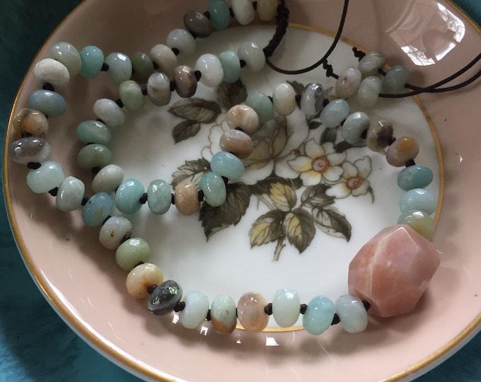Adjustable Amazonite Rondelles + Sunstone Pendant Mala | 54 Bead | 8 mm | Handknotted | Spiritual Junkies | Yoga + Meditation