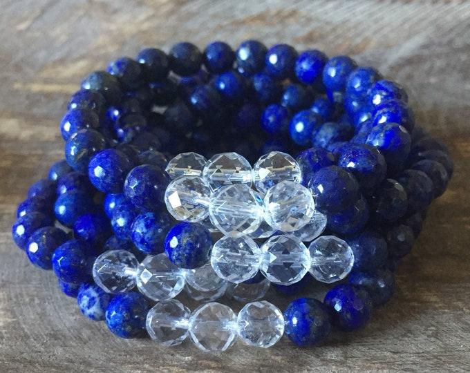 Lapis Lazuli + Quartz Crystal | Spiritual Junkies | Yoga + Meditation | Stackable Mala Bracelet