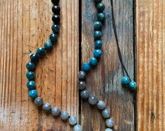 Ebony Wood, Apatite, Labradorite + Quartz Crystal Point Necklace or Mala   Handknotted   Spiritual Junkies   Yoga + Meditation
