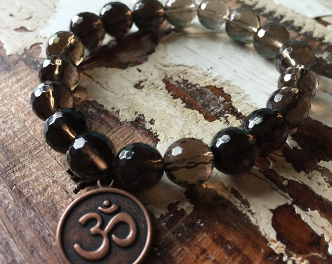 Chunky Smoky Quartz + Om | 10 mm Beads | Spiritual Junkies | Stackable Mala Bracelet | Yoga + Meditation