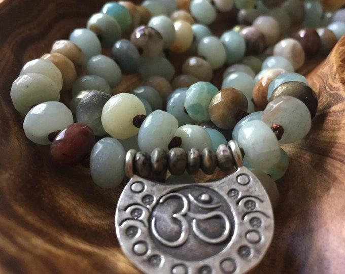 Amazonite Rondelles, Jasper + Thai Sterling Silver Om Mala | 108 Bead | Handknotted | Spiritual Junkies | Yoga + Meditation