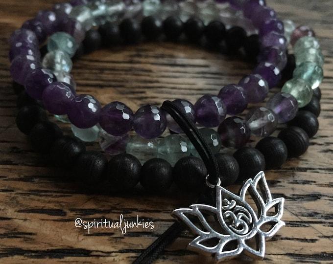 Mini Lotus Stackers | Ebony Blackwood, Amethyst, Fluorite + Om Lotus | 6 mm | Spiritual Junkies | Yoga | 3 Mala Bracelets