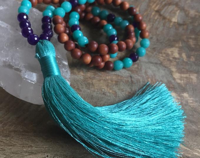 Sandalwood, Jade + Tassel | Mini Mala | 108 Beads | 6 mm | Yoga + Meditation | Kids Jewelry | Vegan Tassel
