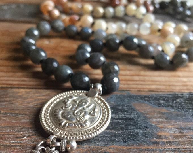 Labradorite, Moonstone, Sunstone + Sterling Ganesh Mala | 108 Ombre 8 mm Beads | Handknotted | Spiritual Junkies | Yoga + Meditation