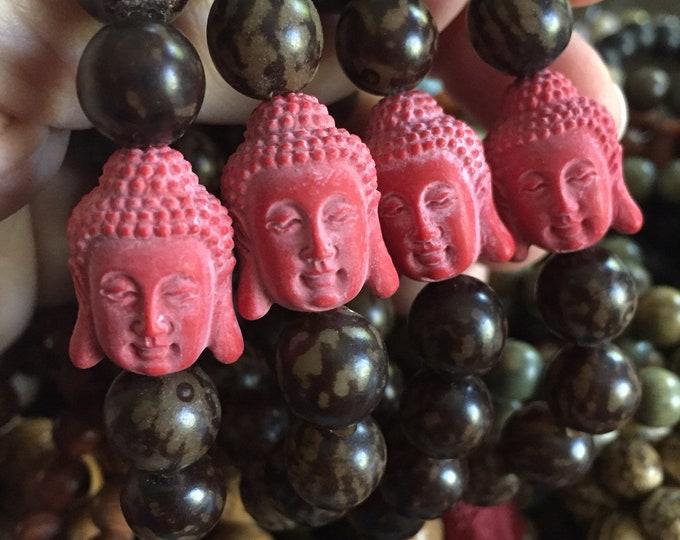 Chunky Buri Nut + Red Buddha | Spiritual Junkies | Yoga + Meditation | Stackable Mala Bracelet