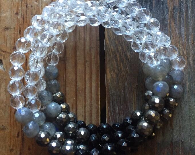 Mini New Moon Manifesting Stackers | Onyx, Hematite, Labradorite + Quartz Crystal Ombré | 6 mm | Spiritual Junkies | Yoga Bracelet