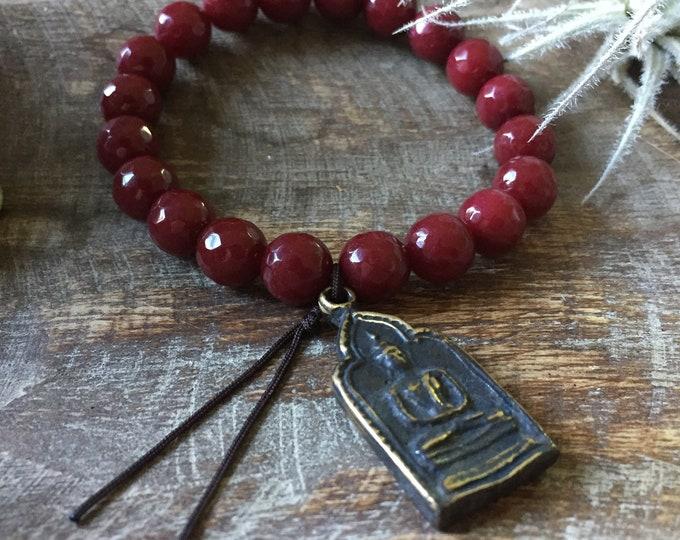 Chunky Red Wine Jade + Thai Buddha | 10 mm | Spiritual Junkies | Yoga + Meditation | Stackable Mala Bracelet