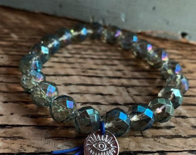 Meditating Mermaid | Chunky Mermaid Aura Quartz + Sterling Third Eye | 10 mm | Spiritual Junkies | Yoga | Stackable Mala Bracelet