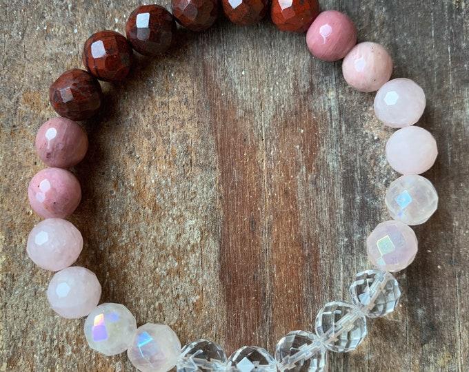 Love Potion Bracelet | Manifesting Love | Quartz, Pink Aura Quartz, Rose Quartz, Rhodonite + Red Jasper | Spiritual Junkies | Stackable Mala