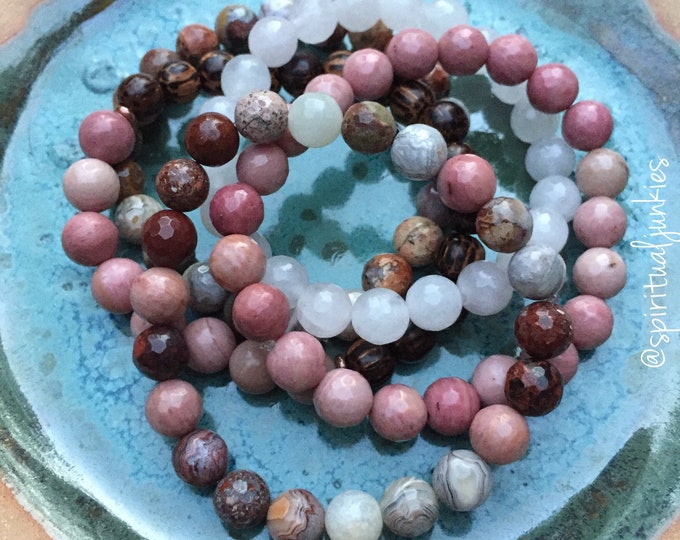 Unconditional Love, Self-Worth + Forgiveness | Spiritual Junkies |Yoga + Meditation | Stack of 5 Mala Bracelets