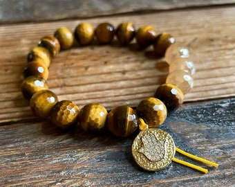 Golden Hour Bracelet | Chunky Tiger Eye, Champagne Dreams Agate  + Pavê Hamsa | 10 mm | Spiritual Junkies | Yoga Jewelry | Mala Beads