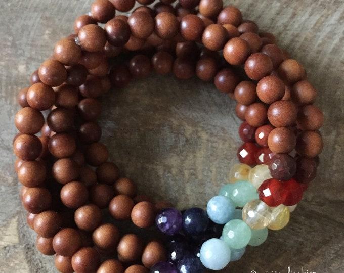 Mini Chakra Stacker | Sandalwood + Chakra Gemstones | 6 mm | Reiki Infused | Spiritual Junkies | Yoga + Meditation | Mala Bracelet