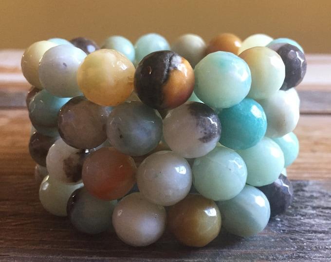 Super Chunky Amazonite | 12 mm | Spiritual Junkies | Yoga + Meditation | Single Stackable Mala Bracelet