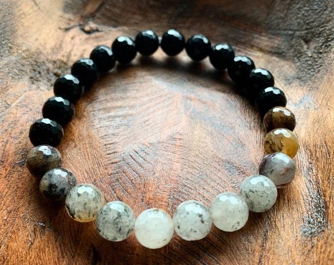 Manifest Bracelet | Black Tourmaline + Rutile Quartz | Spiritual Junkies | Yoga + Meditation | Stackable Mala Beads