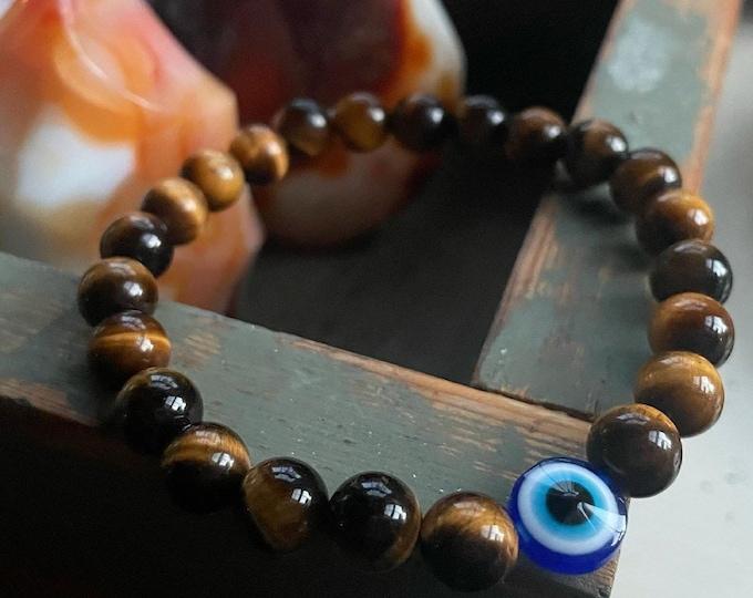 Good Vibes Bracelet | Tiger Eye + Evil Eye | 8 mm | Spiritual Junkies | Yoga Jewelry | Mala Beads