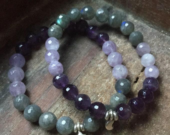 Labradorite, Amethyst + Sterling Silver Star or Crescent Moon | Spiritual Junkies | Yoga + Meditation | Stackable Mala Bracelet