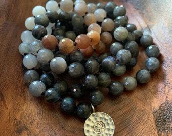 Labradorite, Moonstone, Sunstone + Sterling Om Mala | 108 Ombre Beads | 8 mm | Handknotted | Spiritual Junkies | Meditation