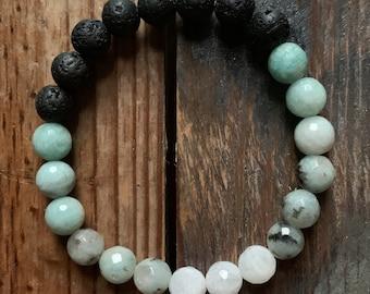 August Mala of the Month | Dreamy Diffuser Bracelet + Sleepy Time Essential Oil Blend | Lava, Amazonite, Sesame Jasper + Moonstone