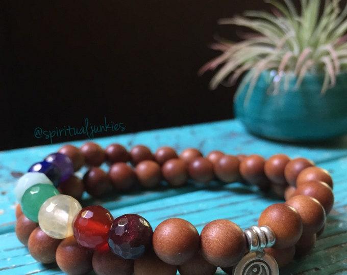 Harmony | Sandalwood, Chakra Gemsones + Thai Sterling Silver Yin Yang | Double Wrap | Spiritual Junkies | Yoga + Meditation | Mala Bracelet