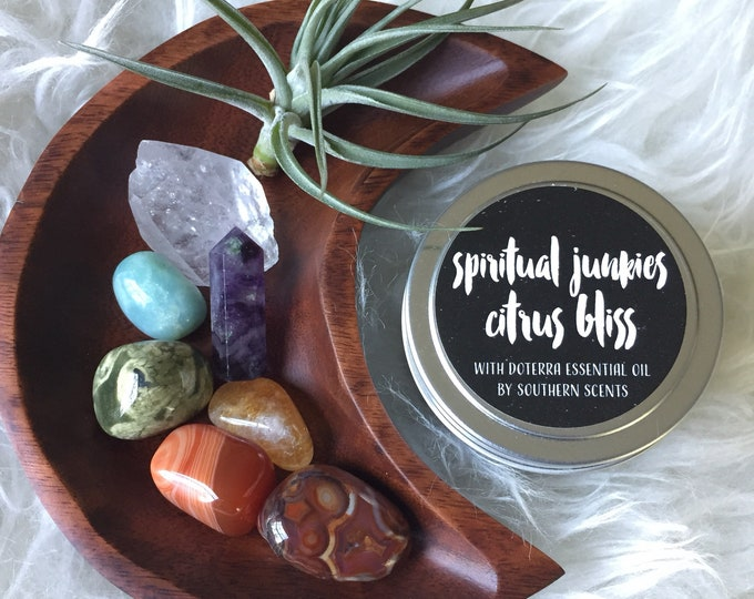 Chakra Gift | Agate, Carnelian, Citrine, Rhyolite, Amazonite, Fluorite, Crystal, Air Plant + Candle | Reiki | Spiritual Junkies | Moon Altar